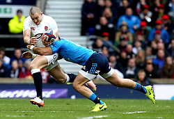 Mike Brown of England is tackled - Mandatory by-line: Robbie Stephenson/JMP - 26/02/2017 - RUGBY - Twickenham Stadium - London, England - England v Italy - RBS 6 Nations round three