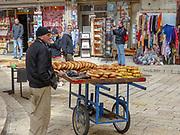 Israel, Jerusalem Sesame bread vendor