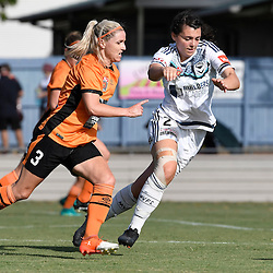 BRISBANE, AUSTRALIA - JANUARY 1: Amy Chapman of the Roar and Alexandra Natoli of the Victory compete for the ball during the round 10 Westfield W-League match between the Brisbane Roar and Melbourne Victory at AJ Kelly Park on January 1, 2017 in Brisbane, Australia. (Photo by Patrick Kearney/Brisbane Roar)