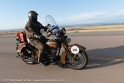 Terry Richardson riding his 1916 Harley-Davidson model J in the Motorcycle Cannonball coast to coast vintage run. Stage 10 (299 miles) from Sturgis, SD to Billings, MT. Tuesday September 18, 2018. Photography ©2018 Michael Lichter.