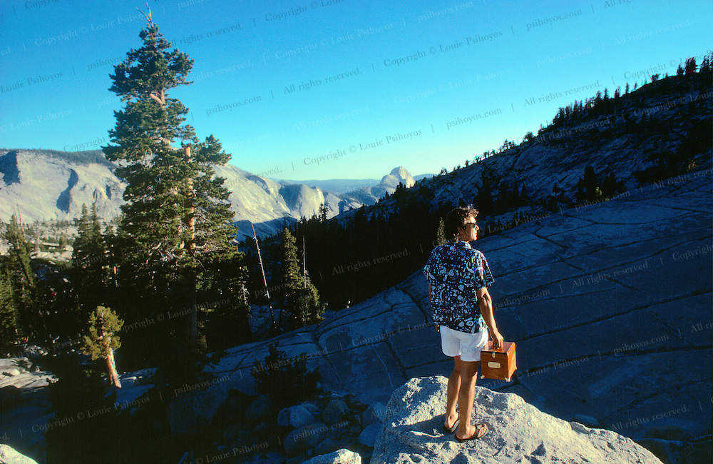 John Knoebber at Yosemite National Park with Edward Drinker Cope's skull in Cardboard box.