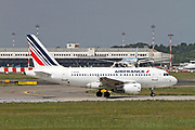 F-GUGH Airfrance Airbus A318 passenger jet at takeoff Photographed at Malpensa Airport, Milan, Italy