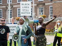 "© Licensed to London News Pictures; 06/09/2020; Bristol, UK. LIZA BILAL (with megaphone), one of the organisers of an All Black Lives UK ""Comeback March"" and rally through Bristol city centre announces the start of the march. Organisers of the Bristol protest have encouraged people to bring PPE (personal protective equipment). The All Black Lives group is youth-led and is separate to the Black Lives Matter movement, but both are united in striving for racial equality. All Black Lives UK are holding 'Comeback Marches' at several locations across the country today, including London, Bristol and Manchester, and have issued a series of demands: to end racial discrimination in the criminal justice, reform the education system, end racial health disparities, implement review recommendations, and stand with the Black community in the US. In Bristol the statue of slave trader Edward Colston was pulled down with ropes and thrown into Bristol docks on 07 June during an All Black Lives/Black Lives Matter protest that made headlines around the world. A month later in July a new sculpture titled ""A Surge of Power (Jen Reid) 2020"" by artist Marc Quinn was put up without permission from Bristol City council. Jen Reid was at the previous protest on 07 June which was in protest for the memory of George Floyd, a black man who was killed on May 25, 2020 in Minneapolis in the US by a white police officer kneeling on his neck for nearly 9 minutes. The killing of George Floyd has seen widespread protests in the US, the UK and other countries. Photo credit: Simon Chapman/LNP."