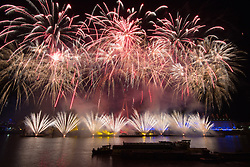 London January 1st 2016. London welcomes the new year 2016 with a spectacular fireworks display on the banks of the River Thames, watched by tens of thousands on the Victoria Embankment and a television audience of millions. PICTURED: