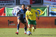 Wycombe Wanderers defender Jordan Obita (27) battles for possession  with Norwich City defender Max Aarons (2)  during the EFL Sky Bet Championship match between Wycombe Wanderers and Norwich City at Adams Park, High Wycombe, England on 28 February 2021.