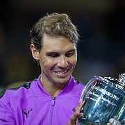 2019 US Open Tennis Tournament- Day Fourteen.   Rafael Nadal of Spain with the winners trophy after his victory against Danill Medvedev of Russia in the Men's Singles Final on Arthur Ashe Stadium during the 2019 US Open Tennis Tournament at the USTA Billie Jean King National Tennis Center on September 8th, 2019 in Flushing, Queens, New York City.  (Photo by Tim Clayton/Corbis via Getty Images)