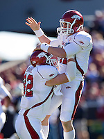 COLUMBIA, SC - NOVEMBER 8:   Casey Dick #11 and Andrew Davie #82 of the Arkansas Razorbacks celebrate after a touchdown during a game against the South Carolina Gamecocks at Williams-Brice Stadium on November 8, 2008 in Columbia, South Carolina.  South Carolina defeated the Razorbacks 34-21.  (Photo by Wesley Hitt/Getty Images) *** Local Caption *** Casey Dick; Andrew DavieUniversity of Arkansas Razorback Men's and Women's athletes action photos during the 2008-2009 season in Fayetteville, Arkansas....©Wesley Hitt.All Rights Reserved.501-258-0920.