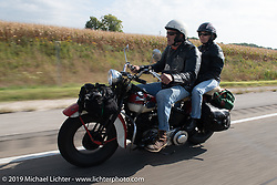 Jerry Wieland rode for fun on a more modern bike with his wife in the Motorcycle Cannonball coast to coast vintage run. Stage 7 (274 miles) from Cedar Rapids to Spirit Lake, IA. Friday September 14, 2018. Photography ©2018 Michael Lichter.