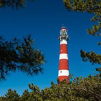 De vuurtoren Bornrif is gebouwd in 1880 en 55 m hoog. Hollum, Ameland, the Netherlands