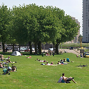 Nederland Rotterdam 24-05-2009 20090524 Foto: David Rozing .                                                                                    .Mensen genieten van zomerweer, zonnen op grasveldje Kralinger Esch                             .People  enjoying sunny weather in parc, citylife, green         .Holland, The Netherlands, dutch, Pays Bas, Europe ..Foto: David Rozing