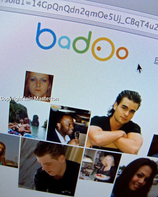 Detail of Internet social website Badoo homepage screen shot