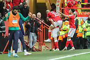 GOAL - Charlton Athletic defender Tom Lockyer (5) celebrates with teammates after scoring a goal (2-2) during the EFL Sky Bet Championship match between Charlton Athletic and West Bromwich Albion at The Valley, London, England on 11 January 2020.