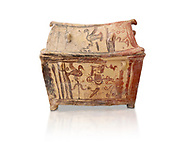 Minoan  pottery gabled larnax coffin chest with birds and marine animals,  Anthanatoi 1370-1250 BC, Heraklion Archaeological  Museum, white background. .<br /> <br /> If you prefer to buy from our ALAMY PHOTO LIBRARY  Collection visit : https://www.alamy.com/portfolio/paul-williams-funkystock/minoan-art-artefacts.html . Type -   Heraklion   - into the LOWER SEARCH WITHIN GALLERY box. Refine search by adding background colour, place, museum etc<br /> <br /> Visit our MINOAN ART PHOTO COLLECTIONS for more photos to download  as wall art prints https://funkystock.photoshelter.com/gallery-collection/Ancient-Minoans-Art-Artefacts-Antiquities-Historic-Places-Pictures-Images-of/C0000ricT2SU_M9w