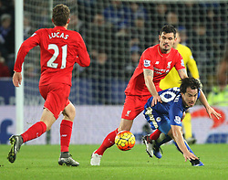 Dejan Lovren of Liverpool (C) and Shinji Okazaki of Leicester City in action - Mandatory byline: Jack Phillips/JMP - 02/02/2016 - FOOTBALL - King Power Stadium - Leicester, England - Leicester City v Liverpool - Barclays Premier League