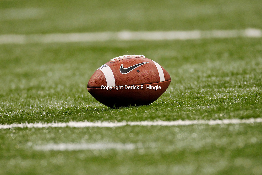 Jan 9, 2012; New Orleans, LA, USA; A football on the field during the first half of the 2012 BCS National Championship game between the LSU Tigers and the Alabama Crimson Tide at the Mercedes-Benz Superdome.  Mandatory Credit: Derick E. Hingle-US PRESSWIRE