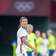TOKYO, JAPAN - JULY 21:  Carli Lloyd #10 of the United States during the he USA V Sweden group G football match at Tokyo Stadium during the Tokyo 2020 Olympic Games on July 21, 2021 in Tokyo, Japan. (Photo by Tim Clayton/Corbis via Getty Images) CAPTION CORRECTION