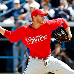 March 4, 2012; Tampa Bay, FL, USA; Philadelphia Phillies starting pitcher Roy Halladay (34) during spring training game against the New York Yankees at George M. Steinbrenner Field. Mandatory Credit: Derick E. Hingle-US PRESSWIRE