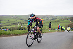 Barbara Guarischi (ITA) of CANYON//SRAM Racing climbs up the Cote de Lofthouse during the Tour de Yorkshire - a 122.5 km road race, between Tadcaster and Harrogate on April 29, 2017, in Yorkshire, United Kingdom.