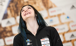 Mia Krampl at press conference of Slovenian National Climbing team before new season, on March 23, 2021 in Bolder Scena, Ljubljana, Slovenia. Photo by Vid Ponikvar / Sportida