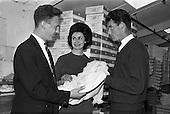 1962 - Miss Ireland, Muriel O'Hanlon, visits Glen Abbey Textiles