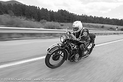 Norm Nelson riding his 1928 BMW during Stage 9 (249 miles) of the Motorcycle Cannonball Cross-Country Endurance Run, which on this day ran from Burlington to Golden, CO., USA. Sunday, September 14, 2014.  Photography ©2014 Michael Lichter.