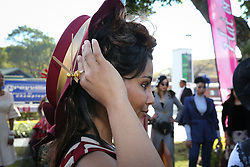 07062018 (Durban) Tarrilyn Row showing off her Hat at the Vodacom Durban July flowing like water among the massive crowd expected at Greyville Racecourse in Durban for the running of the R4.25 million, Grade 1, Vodacom Durban July, the greatest racing, fashion and entertainment extravaganza on the African continent.<br /> Picture: Motshwari Mofokeng/African News Agency/ANA