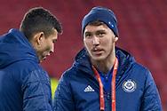 Abat Aymbetov (#17) of Kazakhstan ahead of the UEFA European 2020 Qualifier match between Scotland and Kazakhstan at Hampden Park, Glasgow, United Kingdom on 19 November 2019.