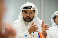 09 APR 2013, DOHA/QATAR<br /> Fahad Bin Mohammed Al-Attiyah, Chariman Qatar National Food Security Programme, waehrend einem Gespraech mit Journalisten, Innenministerium Katar<br />  IMAGE: 20130409-01-054<br /> KEYWORDS: Katar
