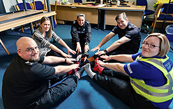 Pictured:(Clockwise from 12:00) SGT Rebekah Czajkowski,  Insp Andy Morrice,  PCSO Marie Williams,   SGT Colin Clarkson and DC Kerry Kinroy<br /> Police officers at Boston Police Station were on their toes to support the Odd-Socks anti-bullying campaign.  The Bobby-soxers need to protect those feet as winter heads their way.<br /> <br /> <br /> James Sullivan| EEm 12 November 2018