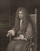 Robert Boyle (1627-1691), Anglo-Irish chemist and physicist, as a young man. Engraving.