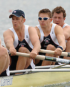 2005 FISA World Cup, Dorney Lake, Eton, ENGLAND, 26.05.05. [Thursday am] GB men's four, [left to right] Andy Twiggs Hodge, Alex Partridge, Peter Reed and Steve Williams, pull away from the start pontoon, in there heat of the men's four on the open day of the FISA World Cup Regatta held on Dorney lake..Photo  Peter Spurrier. .email images@intersport-images[Mandatory Credit Peter Spurrier/ Intersport Images] , Rowing Courses, Dorney Lake, Eton. ENGLAND