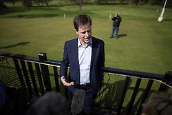 © Licensed to London News Pictures . 01/05/2015 . Manchester , UK . NICK CLEGG interviewed by media after speaking at a Liberal Democrat party rally at Chorlton-cum-Hardy Golf Club . Liberal Democrat party leader Nick Clegg visits the constituency of Manchester Withington to deliver a speech on the NHS and campaign with local candidate John Leech . Photo credit : Joel Goodman/LNP