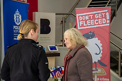 Pictured: Inspector Phillipa Boyd chats to a customerr about the new campaign<br /><br />Police Scotland is warning that anyone can be a victim of doorstep crime after householders lost hundreds of thousands of pounds to scammers. <br /><br />The Shut Out Scammers campaign was launched today at the Clydesdale Bank, George Street, Edinburgh.  Chief Superintendent John McKenzie was joined by colleagues from Police Scotland, Clydesdale Bank, Care and Repair Edinburgh, Crime Stoppers and Trading Standards.<br /><br />Ger Harley | EEm 14 APRIL 2019
