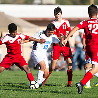 Nathaniel Mathis, left, and Luis Gonzalez try to gain posession of the ball in the match Tuesday Sept. 11, 2018 in Grants between the Grants Pirates and the Bloomfield Bobcats varsity soccer teams.