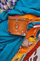 Mongolie, province de Bayankhongor, nomade mongol portant une paire de jumelles // Mongolia, Bayankhongor province, a nomad man wearing a pair of binoculars