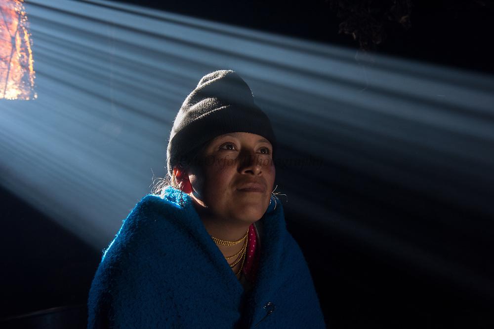 Indian woman Mirian Cayambe<br /> Pulingue San Pablo community<br /> Chimborazo Province<br /> Andes<br /> ECUADOR, South America