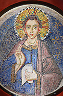 """14th Century Mosaic of Jesus Christ Emmanuel, meaning """"God is with us"""" a symbolic name which appears in chapters 7 and 8 of the Book of Isaiah,   from the Zen Chapel  of the  Basilica San Marco ( St Mark's Basilica ) Venice, Italy"""