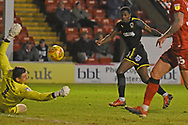 AFC Wimbledon forward Michael Folivi (41) shot is saved during the EFL Sky Bet League 1 match between Walsall and AFC Wimbledon at the Banks's Stadium, Walsall, England on 12 February 2019.