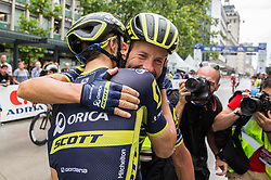 Winner Luka Mezgec (SLO) of Orica - Scott and Svein Tuft (CAN) of Orica - Scott celebrate after  the Stage 2 of 24th Tour of Slovenia 2017 / Tour de Slovenie from Ljubljana to Ljubljana (169,9 km) cycling race on June 16, 2017 in Slovenia. Photo by Vid Ponikvar / Sportida