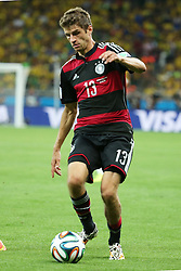 08.07.2014, Mineirao, Belo Horizonte, BRA, FIFA WM, Brasilien vs Deutschland, Halbfinale, im Bild Thomas Mueller (GER) // during Semi Final match between Brasil and Germany of the FIFA Worldcup Brazil 2014 at the Mineirao in Belo Horizonte, Brazil on 2014/07/08. EXPA Pictures © 2014, PhotoCredit: EXPA/ Eibner-Pressefoto/ Cezaro<br /> <br /> *****ATTENTION - OUT of GER*****