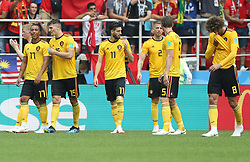 MOSCOW, June 23, 2018  Players of Belgium celebrate victory after the 2018 FIFA World Cup Group G match between Belgium and Tunisia in Moscow, Russia, June 23, 2018. Belgium won 5-2. (Credit Image: © Xu Zijian/Xinhua via ZUMA Wire)