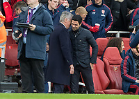Football - 2019 / 2020 Premier League - Arsenal vs. Everton<br /> <br /> Carlo Ancelotti, Manager of Everton FC, and Mikel Arteta, Manager of Arsenal FC, exchange pleasantries ahead of the kick off at The Emirates Stadium.<br /> <br /> COLORSPORT/DANIEL BEARHAM