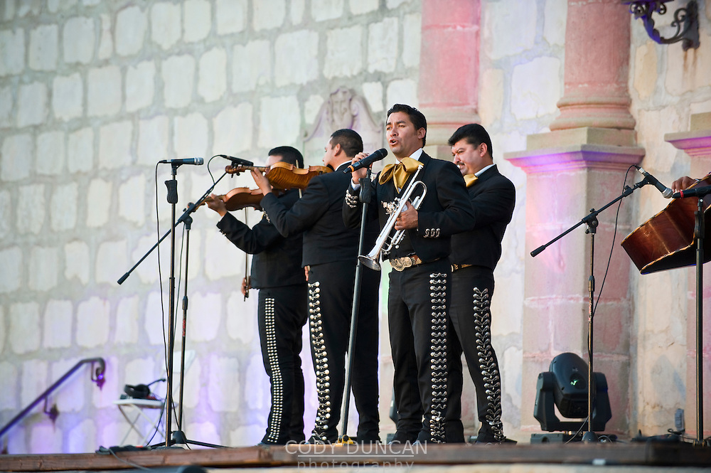 Mariachi Band plays on steps of Santa Barbara Mission at La Fiesta Pequena, Opening night of Annual Old Spanish Days - Fiesta celebration. Aug 5, 2009