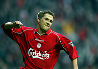 Fotball: Liverpool Michael Owen celebrates his second goal against Birmingham City during the FA Cup 3rd Round match at Anfield. Liverpool won 3-0. Saturday 5th January 2002.<br /><br />Foto: David Rawcliffe, Digitalsport