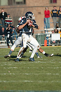 Quarterback for Ithaca college drops back to pass.