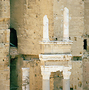 Ruined Roman columns at Théâtre antique d'Orange, The Ancient Theatre of Orange, a UNESCO World Heritage Site, Orange, France