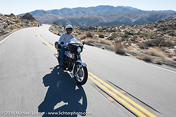 Vinnie Grasser of Florida on his 1916 Harley-Davidson on the Palms to Pines Scenic Byway on the last day of the Motorcycle Cannonball Race of the Century. Stage-15 ride from Palm Desert, CA to Carlsbad, CA. USA. Sunday September 25, 2016. Photography ©2016 Michael Lichter.