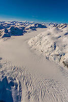 Aerial view of Cushing Glacier, Glacier Bay National Park, southeast Alaska USA. Glacier Bay is a UNESCO World Heritage Site.
