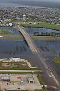 August 31, Slidell Louisiana, Flood water form a surge caused by hurricane Isaac at I-10 keeps the interstate closed.