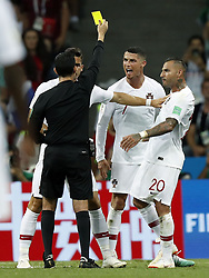 (l-r) referee Cesar Ramos, Cristiano Ronaldo of Portugal, Ricardo Quaresma of Portugal during the 2018 FIFA World Cup Russia round of 16 match between Uruguay and at the Fisht Stadium on June 30, 2018 in Sochi, Russia